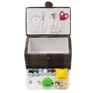 Image 5 - Buy One Get ücretsiz dikiş araçları dikiş saklama kutusu ahşap ve kumaş kaplı el sanatları dikiş kitleri organizatör noel hediyesi kutusu anne