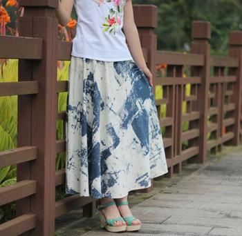 Linen skirt half-length full spring summer bust bohemia - expansion blue