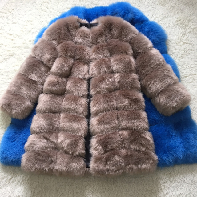 New Medium Long Fake Fox Fur Jacket Women Winter Faux Fox Fur Jackets Woman Warm Artifical Fox Fur Coats Female Ladies Fur 4