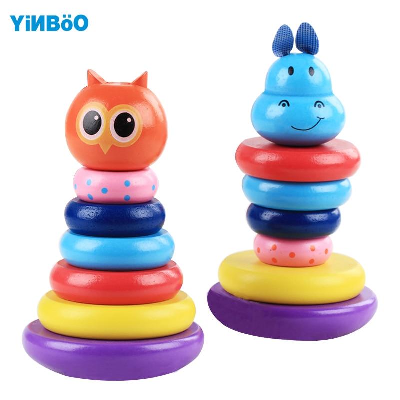 Игрушки для маленьких детей деревянный Радуга укладки кольца башни Конструкторы для детей раннего обучения деревянный пончик Кольца Brinquedos...