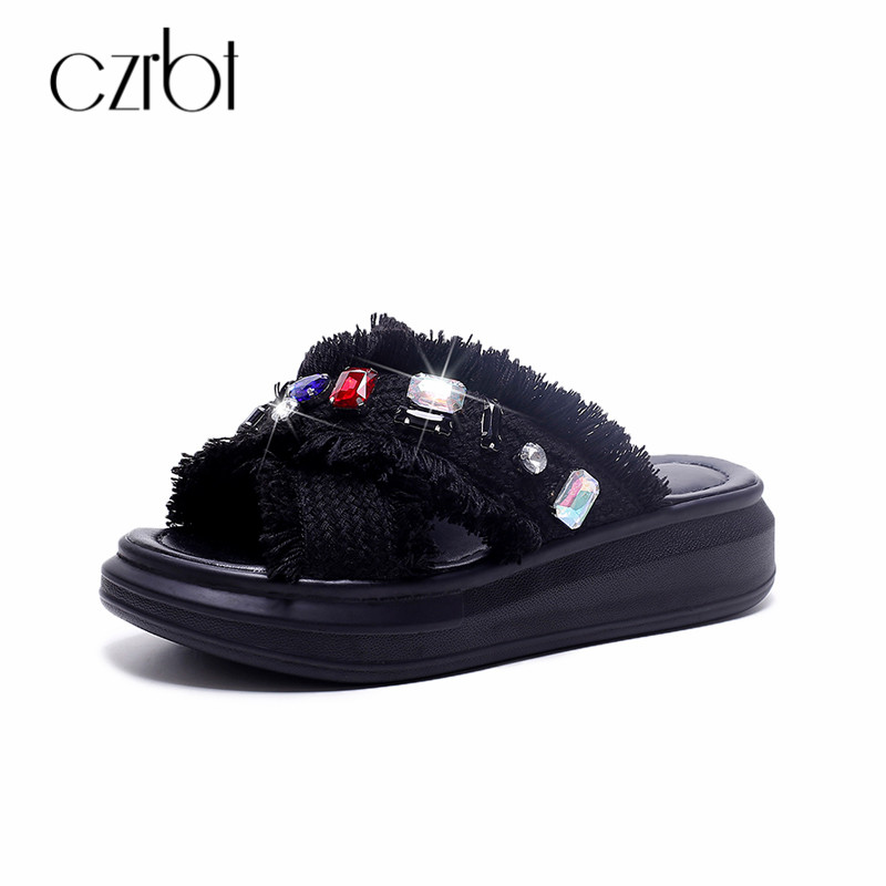 CZRBT Women Slippers Brand New Design Colour Crystal Fringe Genuine Leather Flat Platform Slippers Woman Summer Shoes Size 34 43