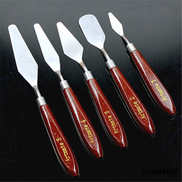 Useful 5pc Professional Stainless Steel Artist Painting Palette Knife Spatula Paint Art High Quality