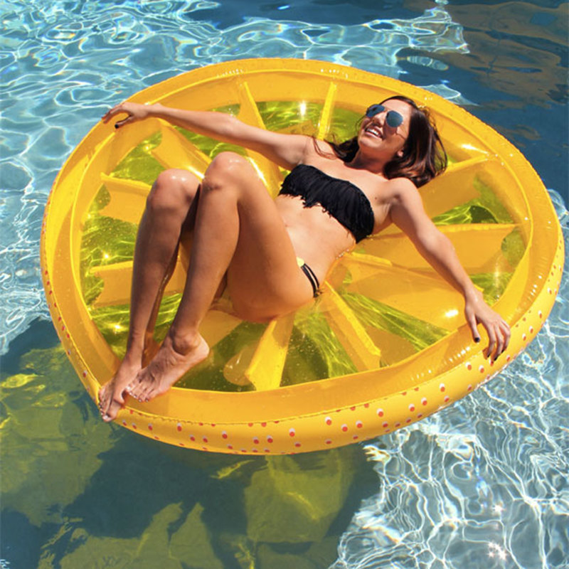Top Quality Lemon Swimming Toy Fruit Slice Float Air Mattress Lemon Swimming Ring Floating Bed Pool Float Beach Inflatable Toy environmentally friendly pvc inflatable shell water floating row of a variety of swimming pearl shell swimming ring