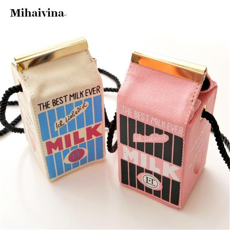 Cute Stereo Mini Milk Box Makeup Cartoon Bag Women Fashion Letter Canvas Shoulder Bags Novelty Messenger Strap Purse Handbag.