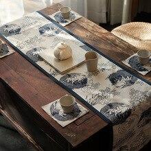 30x12 0/160/180/200/220cm estilo chino de la vendimia de calamar azul profundo camino de mesa Toalla de algodón DE LINO DE LA MESA de té estera camino de cama