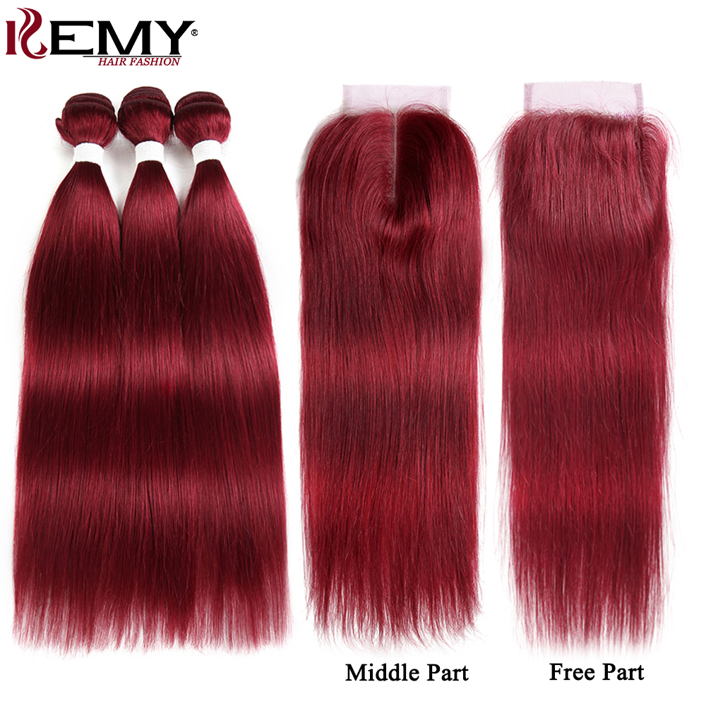 99j/Burgundy Human Hair Bundles With Closure 4*4 Non Remy Red Color Brazilian Straight Human Hair Weave Bundles 3 Pcs Kemy Hair