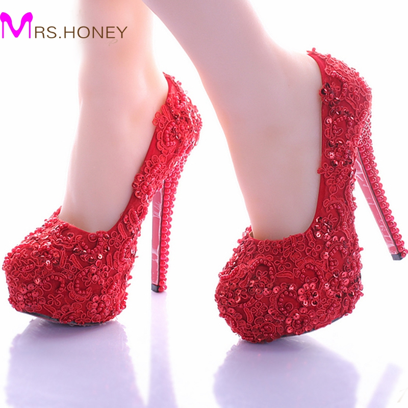 Wedding Shoes for Bride Elegant Red Lace Bridal Dress Shoes ...