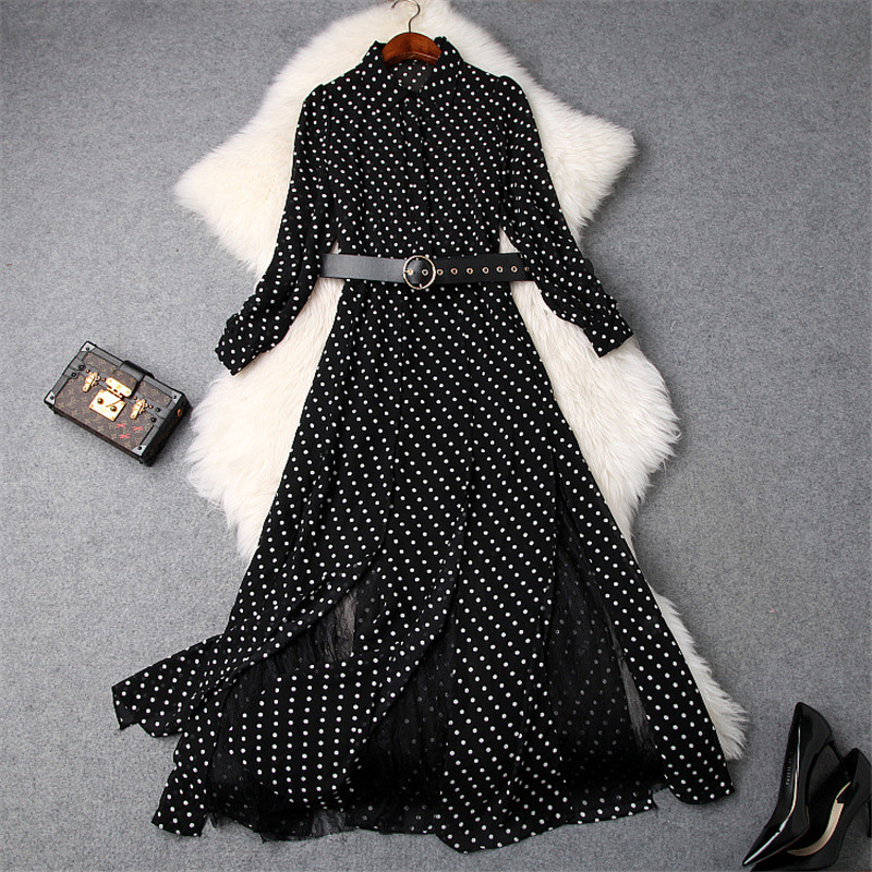 2019 Spring Dresses Women Fashion Designers Long Sleeve Polka Dot Print Lace Patchwork Belted Mid Calf Dress Casual Vestidos
