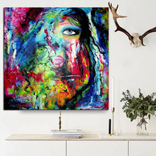 Graffiti Stree Art Watercolor Women Face Oil Painng on Canvas Pop Abstract Wall Picture for Living Room Sofa Cuadros