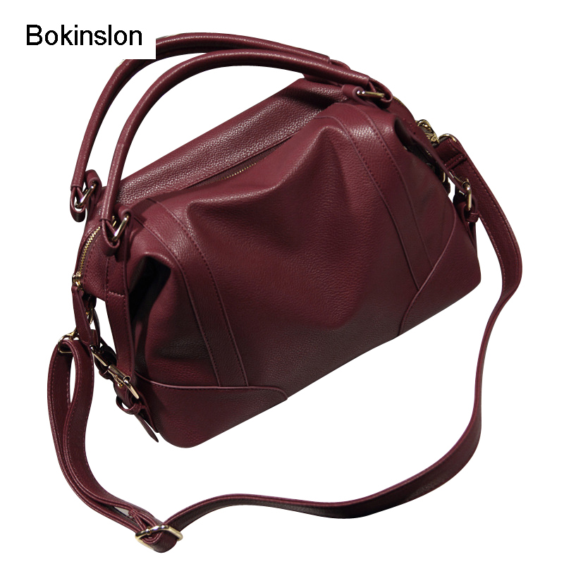 Bokinslon Women Bag Handbag PU Leather Casual Shoulder Bags For Girls Solid Color Elegant Woman Fashion Bags women floral leather shoulder bag new 2017 girls clutch shoulder bags women satchel handbag women bolsa messenger bag