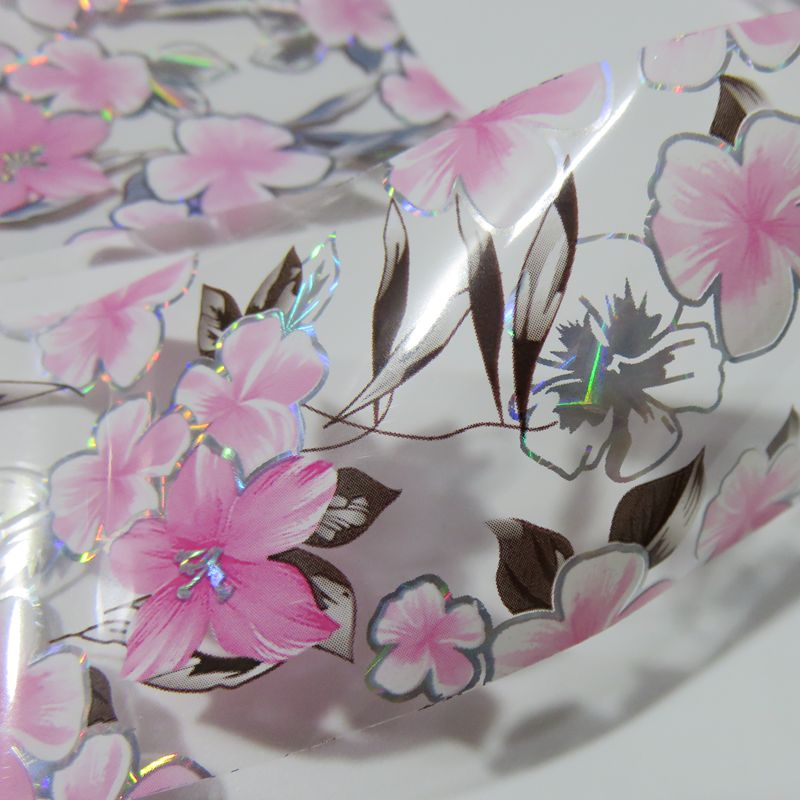 100cm Lily Flowers Nail Sticker Holographic Transfer Nail Foils Art Stickers For Nail Gel Polish Manicure Tools