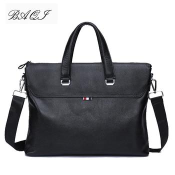 BAQI Brand Men HandBags Men Briefcase Bag Genuine Cow Leather 2019 Fashion Man Shoulder bags Messenger Bag Computer Business Bag