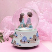 newCoral couple floating snow glass crystal ball music box music box little girl birthday gift girl love