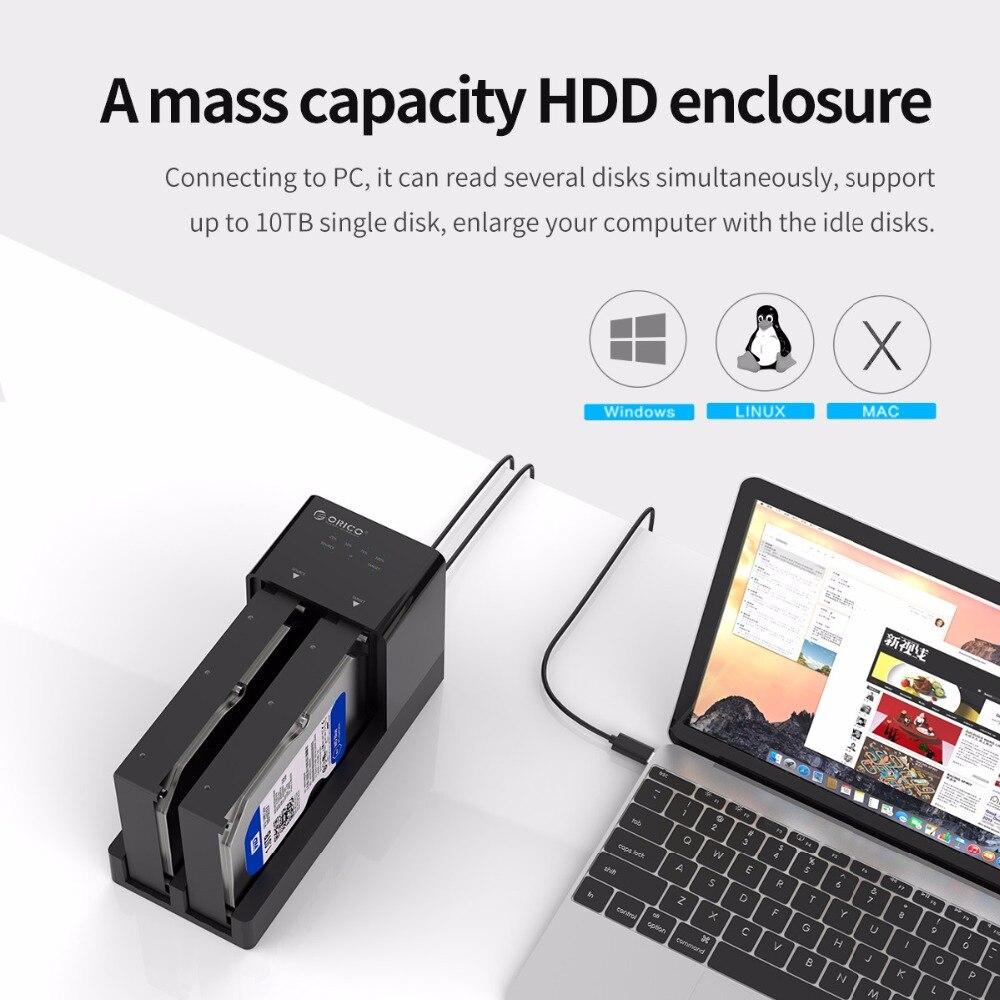 ORICO 2.5 3.5 boîtier disque dur sata Station D'accueil Hors Ligne Clone Super Vitesse USB 3.0 Disque Dur Soutien 10 TB 2 Bay noir 6528US3-C - 3