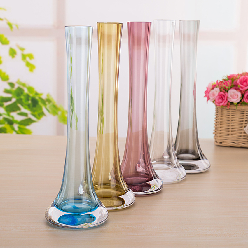 Modern creative colorful glass vase iron tower vase for Decoration vase