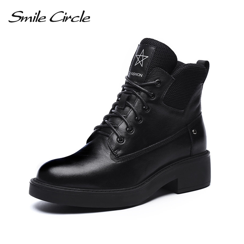 Smile Circle Cow Leather Ankle Boots Women Black Round Toe Shoes Botas Fashion Lace-up Non-slip Martin Short boots Winter boots smile circle suede cow leather chelsea boots women ankle boot fashion rivets round toe lady shoes women high heel boots