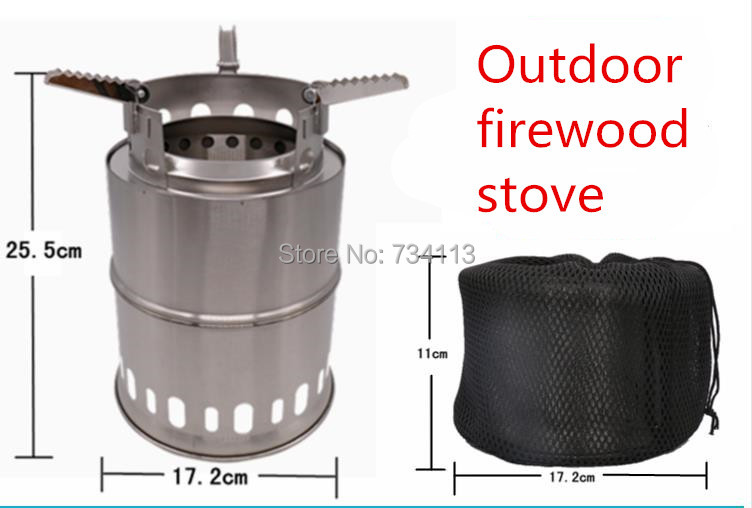 Poêle à bois de chauffage en plein air Portable poêle à alcool solidifié en acier inoxydable Camping poêle en plein air cuisson pique-nique poêle, barbecue 26*17 cm