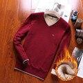 2016 novo adicionar mais suéter de lã marca camisola Eden park alta qualidade térmica dinheiro masculino camisola de decote em v TAMANHO: M-3 xl