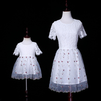 Brand mother baby girl embroidery lace wedding dress family look princess holiday beach dress flower girls bride party dresses