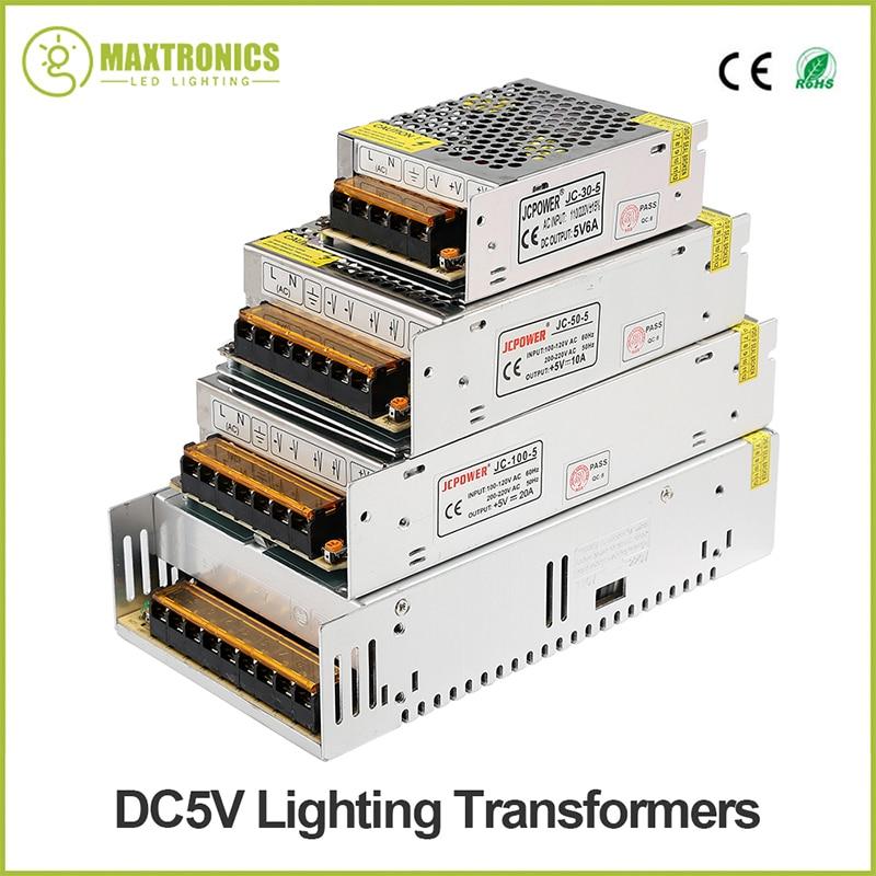 New 5V 2A/3A/4A/5A/6A/8A/10A/12A/20A/30A/40A/60A SwitchLED Power Supply Transformers For WS2812B WS2801 APA102 8806 LED Strip