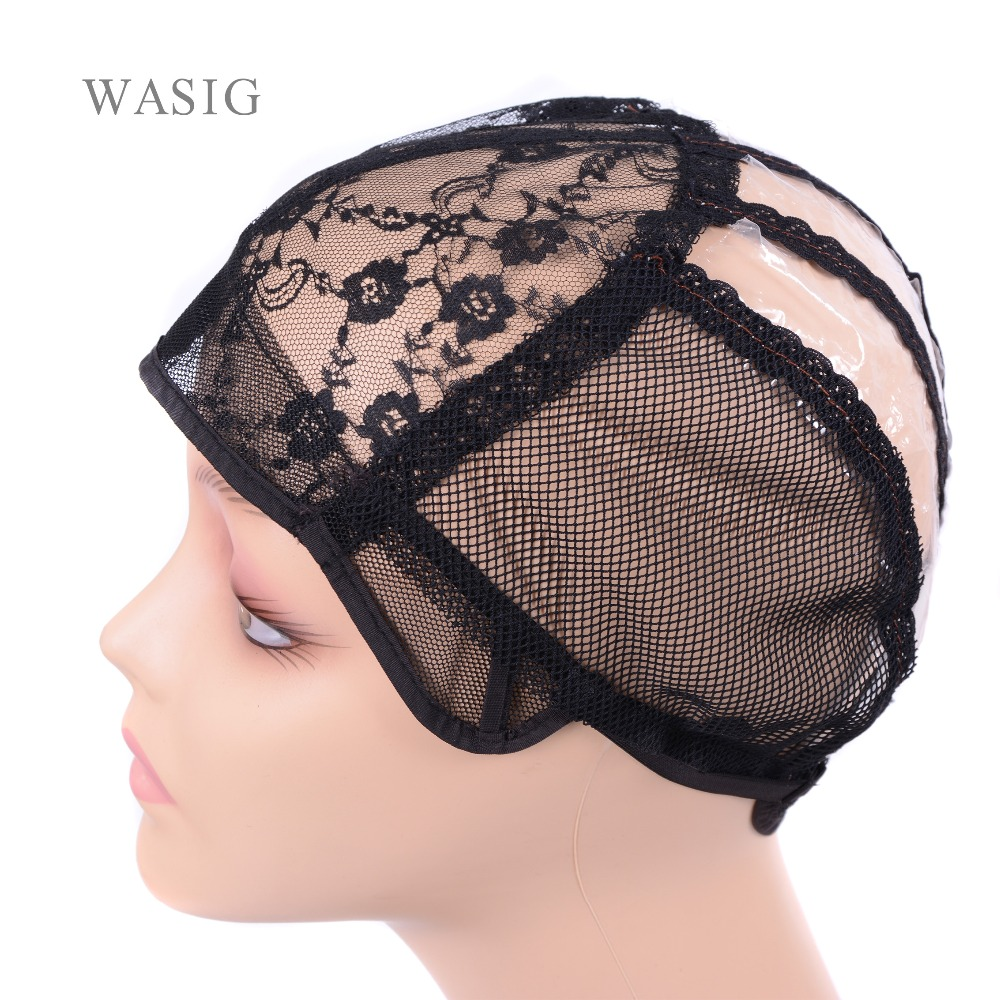 1 Pcs  Black, Blonde Swiss Lace  Wig Cap for Making Wigs with Adjustable Strap for Weave Wig Women Hairnets easy cap