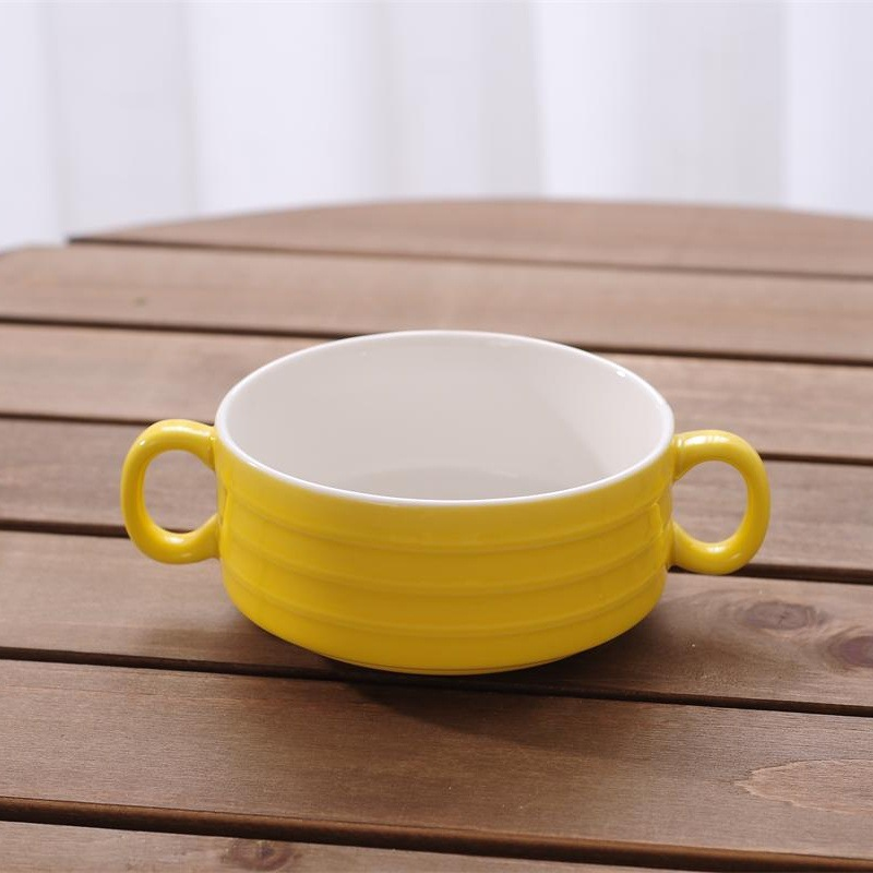 Fashion Candy Color Household Ceramic tableware snack Dessert Spaghetti Jelly Pudding Soup Binaural Bowl 1 pieces