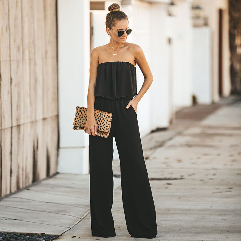 Elegant Off shoulder Black Rompers Womens Summer   Jumpsuit   Sexy Ladies Casual Long Trousers Overalls Fashion Ruffles   Jumpsuits