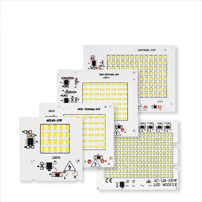 No need Driver SMD LED Lamps LED Smart IC AC 220V 10W 20W 30W 50W 100W For DIY FloodLight Cold Warm White outdoor lighting