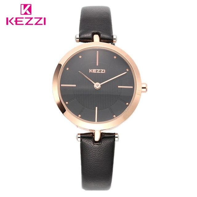 263d24e44325 Kezzi regalo conmemorativo reloj mujeres creativa delgada correa de reloj  de oro blanco elegante chica joven