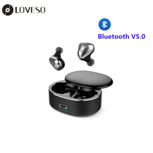 LOVESO T50 TWS Mini Wireless Bluetooth Headset HiFi Stereo Noise Cancelling Sport Earphones With Mic For Huawei Xiaomi Headphone philips original tx1 hires earphones high resolution hifi mobile noise cancelling headset for xiaomi galaxy s9 s9 plus
