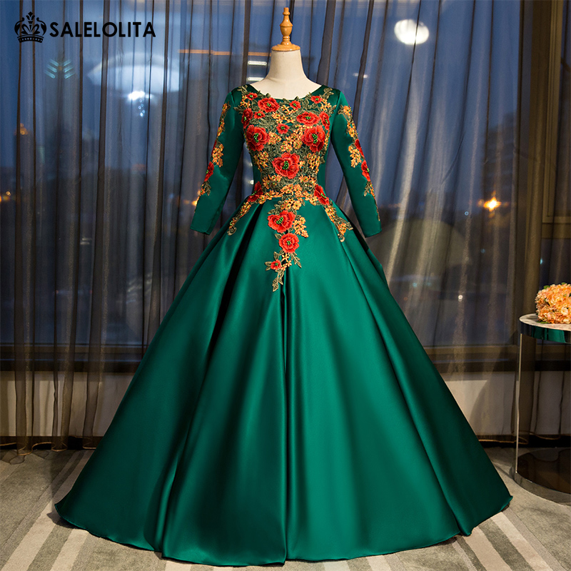 2017 Custom Gorgeous Green Embroidery Applique Pageant