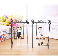 1pc/a lot European Pastoral Style Wrought Iron Swing Tin Doll Figurine Home Wedding Decoration lovers furnishing articles