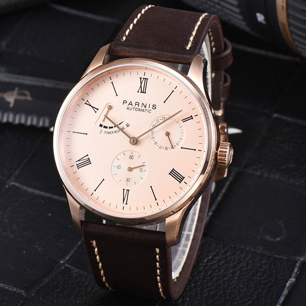 Newest 42mm parnis pink Dial Power reserve Date Golden Plated Roman Numerals Sea Gull Automatic Mechanical mens Wristwatches
