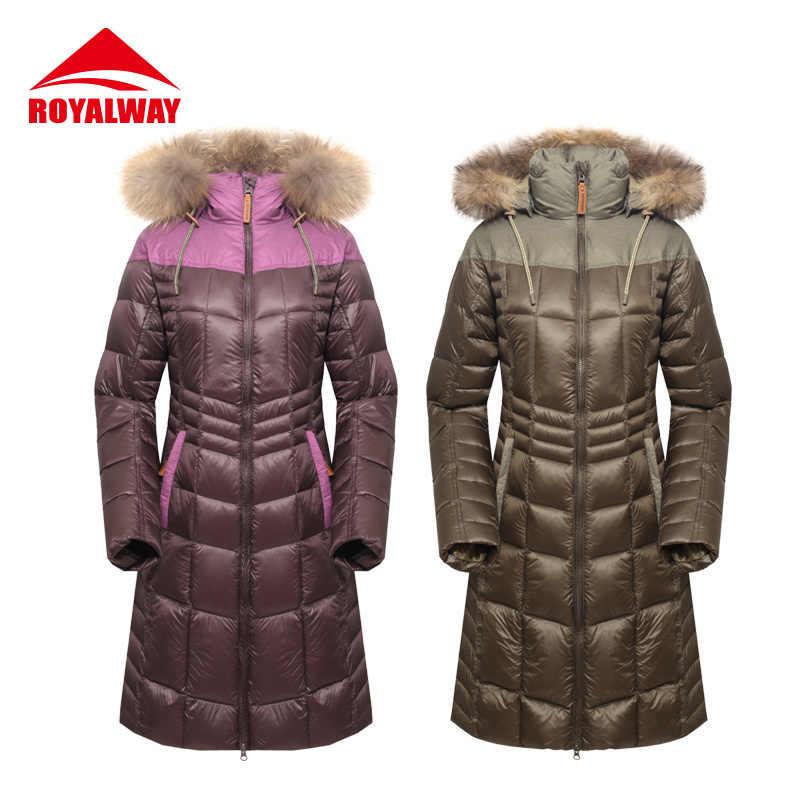 ROYALWAY mujer invierno blanco ganso abajo chaquetas abrigos alta calidad caliente mujer engrosamiento Parka capucha sobre el abrigo # RFDL4341E