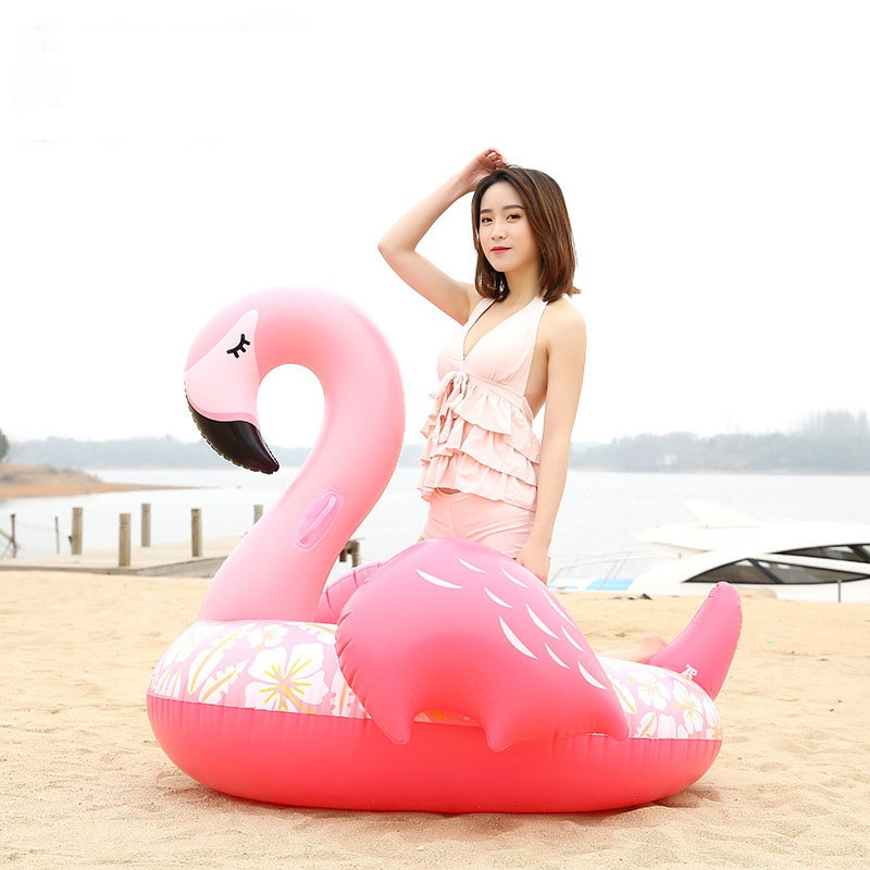 150CM Giant Flower Print Flamingo Pool Float 2018 Newest Pink Ride-On Swimming Ring Adult Water Party Inflatable Fun Toy Piscina
