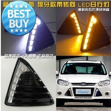 Glossy surface led drl daytime running light for Ford focus 2012-13 with dimmer control and yellow turn signals top quality super bright led drl daytime running light for 2013 16 ford mondeo fusion fog lamp with dimmer function and yellow turn signals