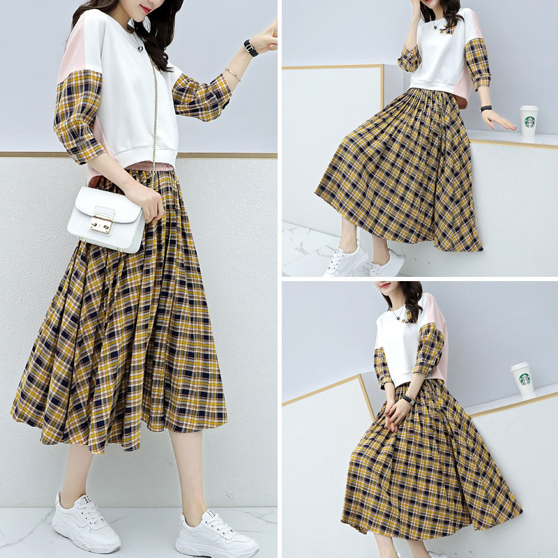 Spring Plaid Two Piece Sets Women Sweatshirt Tops And Pleated Skirt Sets Suits Casual Korean Female Women's Sets Costumes 2019 29
