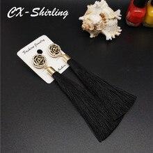 CX-Shirling Fashion Brand Camellia Earrings Exaggerated Vintage Rhinestone Crystal Long Tassels Earrings Women
