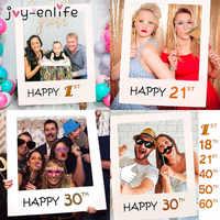 30th 40th 50th 60th Photo Booth rama wszystkiego najlepszego z okazji urodzin Photobooth rekwizyty dziecko 1st urodziny strona dekoracji Photo Booth