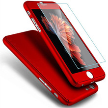 360 Degree Case for iPhone 7 7Plus 2017 Luxury Full Body Ultra Thin Case Tempered Cover