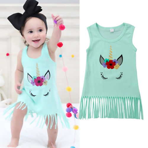 Toddler Kids Baby Girls Unicorn Sleeveless Clothes Party Pageant Tassal Dress Summer Clothes