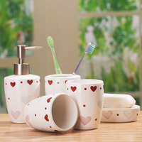 White red heart type ceramic bath room supplies set double shukoubei toothbrush holder hand sanitizer bottle