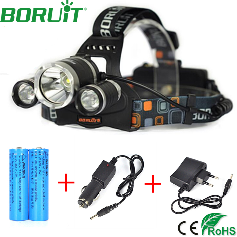 Bourit 5000lm LED L2+2R5 Headlamp 4-Mode Rechargeable Headlight Hunting Fishing Head Lamp Torch Lantern Light by 18650 Battery