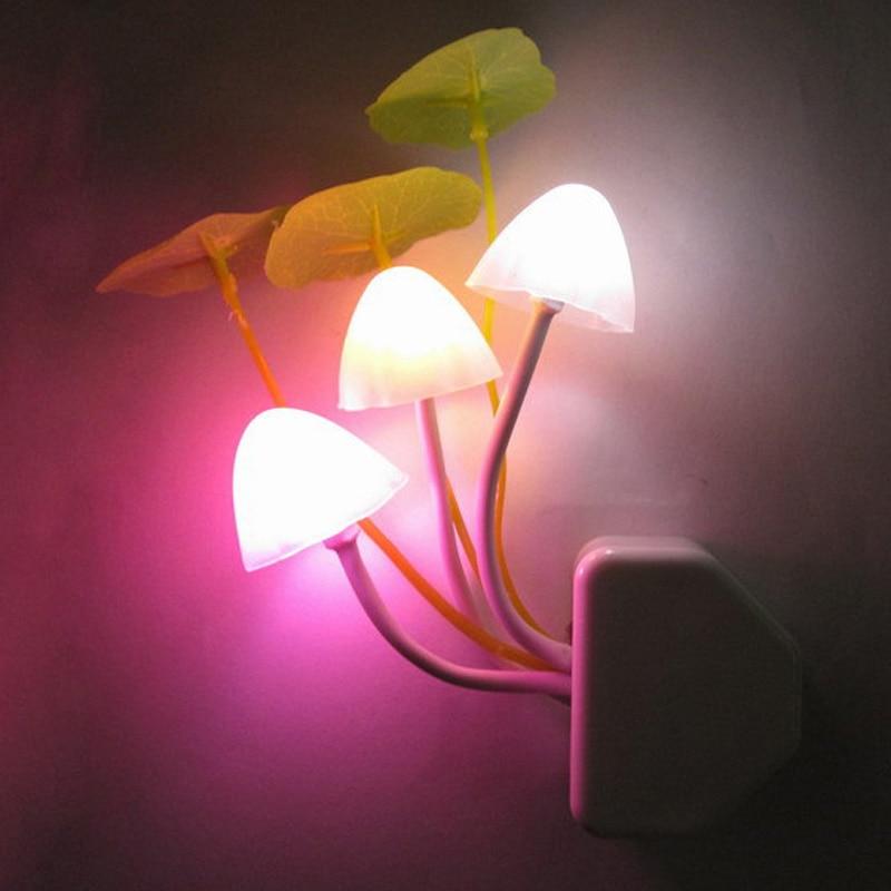 Mushroom Fungus Night Light EU & US Plug Light Sensor 220V 3 LED Colorful Mushroom Lamp Led Night Lights