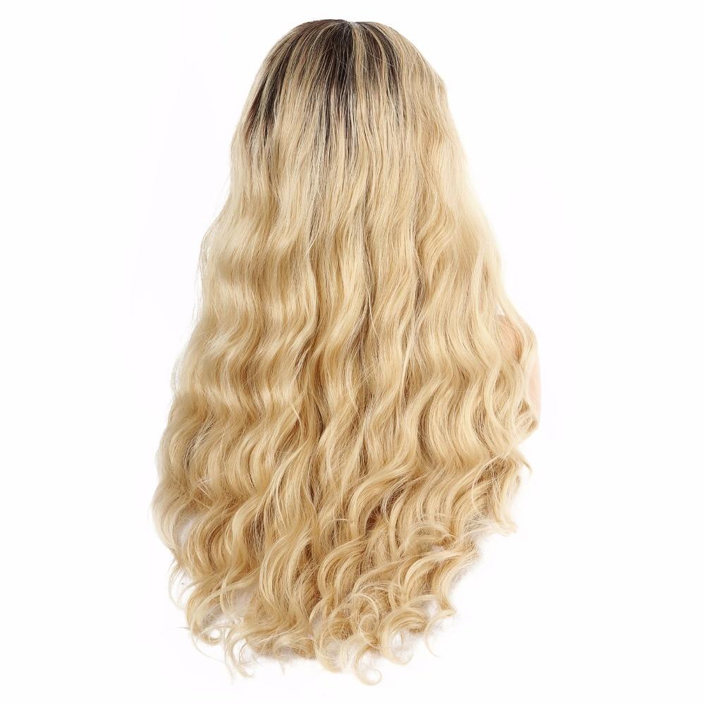 Syntetisk Snörning Fram Paryk Naturlig Lång Natralt Wave Paryk - Syntetiskt hår - Foto 4