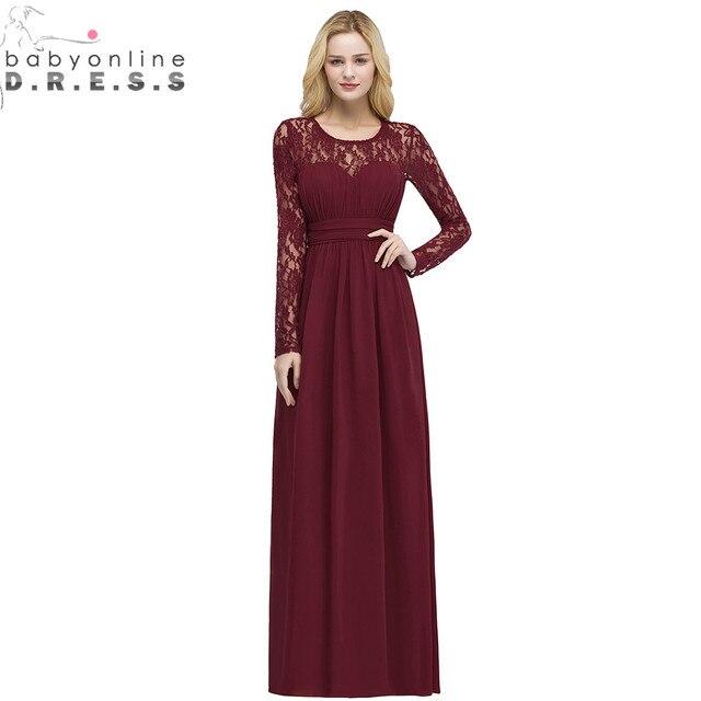 חלוק עלמת D'honneur רב צבעים ארוך שרוול תחרה שושבינה שמלות מקסים שיפון מסיבת חתונת שמלות ארוך