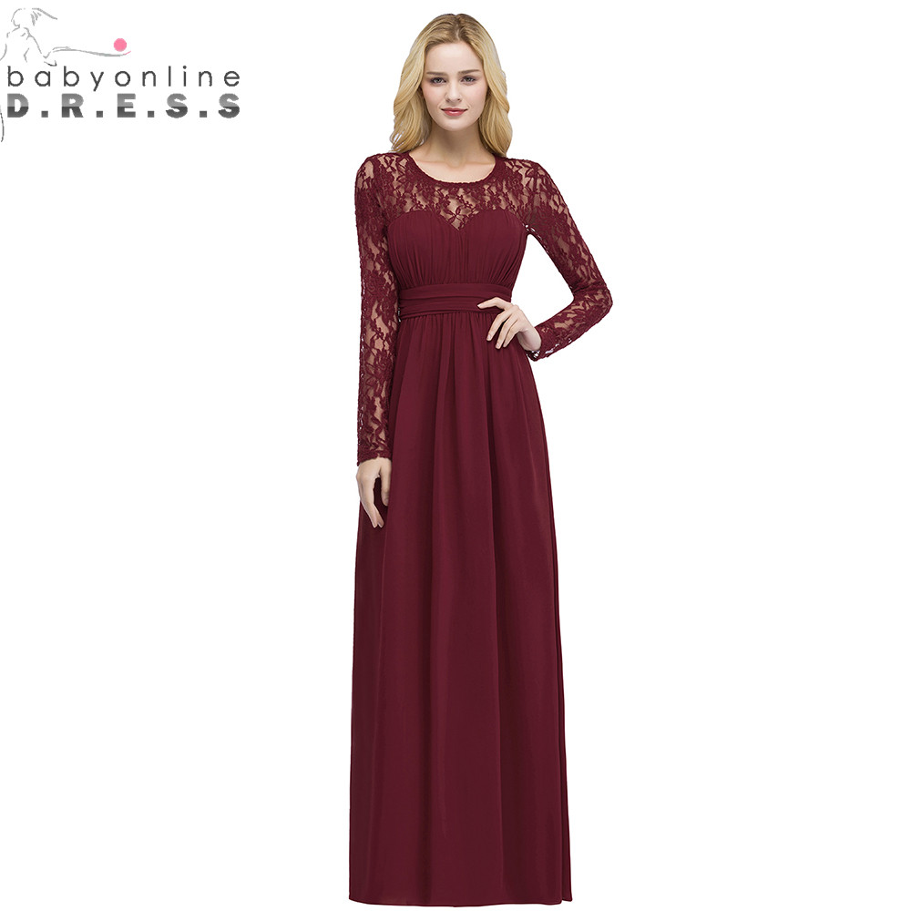 Robe Demoiselle D'honneur Multi-Colors Long Sleeve Lace   Bridesmaid     Dresses   Charming Chiffon Wedding Party   Dresses   Long