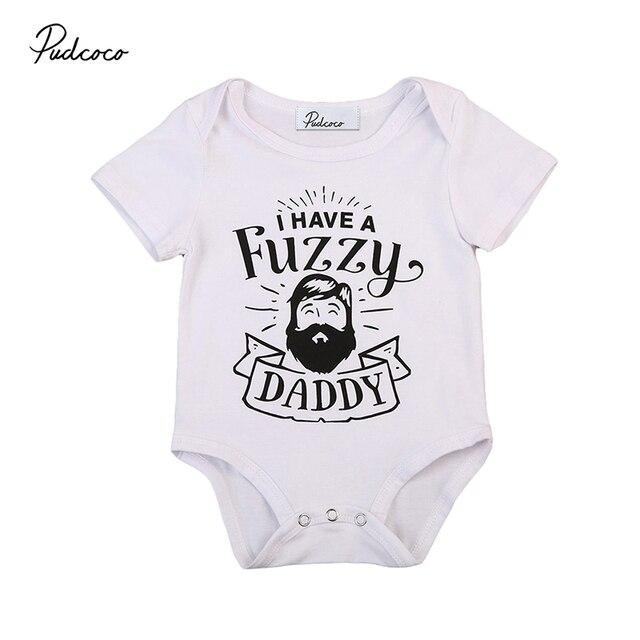 a64a78bcc512 Fuzzy Daddy Newborn Infant Baby Boy Girl Short Sleeve Cotton Romper ...