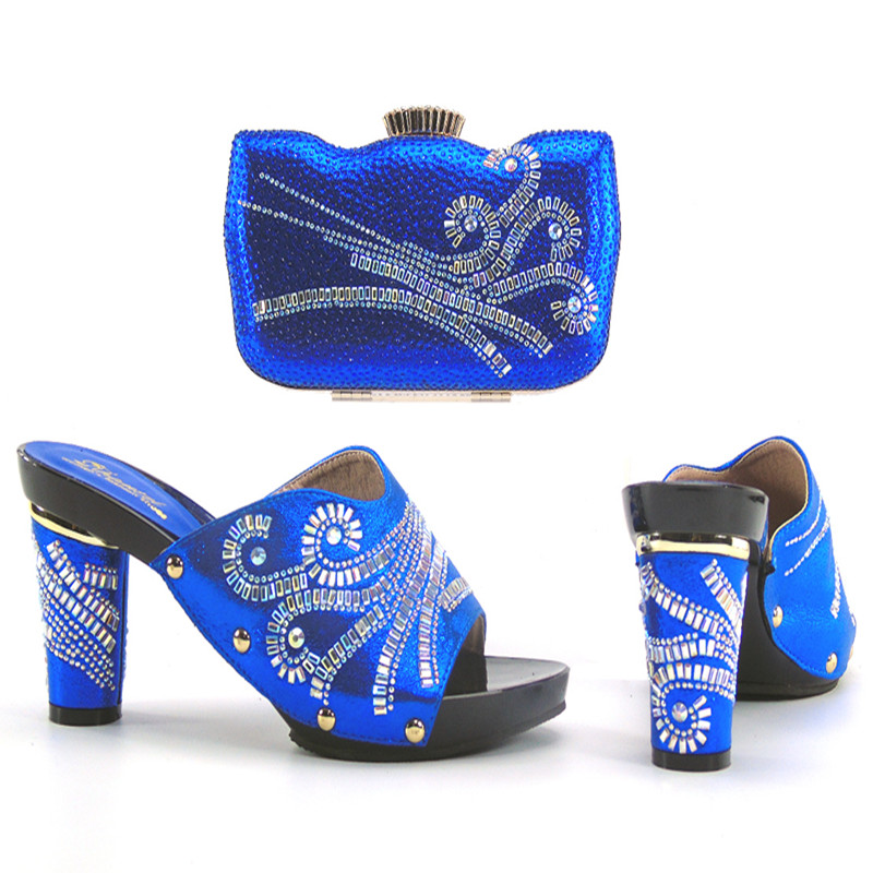 ФОТО 2017 Charming Italian Shoes With Matching Bags Rhinestones royal blue High Quality African Shoes And Bags Set for Wedding lu1-15