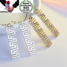 OMHXZJ Wholesale Personality Fashion Woman Girl Party Wedding Great Wall Hollowed 925 Sterling Silver 18KT Gold Earrings YE337